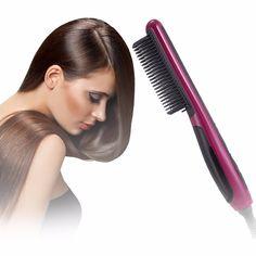 Fast Safe Hair Straightener Anti static Ceramic Straightening Brush Comb  Pro LCD Heating Electric Ionic brush d7c5efd7d9