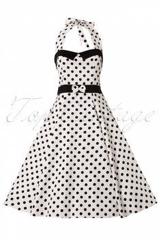 ‪#‎topvintage‬ Collectif Clothing - 50s Stella Sweetheart Doll White Black Polka Dot swing dress