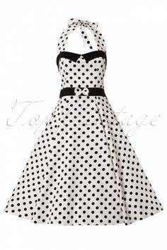 #topvintage Collectif Clothing - 50s Stella Sweetheart Doll White Black Polka Dot swing dress