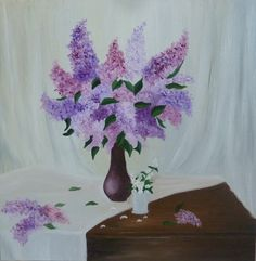 """Oil on canvas """"Lilac"""" Oil Painting On Canvas, Oil Paintings, Decoration, Lilac, Glass Vase, Art, Home Decor, Decorating, Craft Art"""