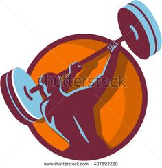 Illustration of a weightlifter lifting swinging barbell with both hands looking to the side viewed from rear set inside circle on isolated background done in retro style. #weightlifting #retro #illustration