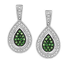 You might not be Cleopatra, but these stunning 10KT White gold 0.12 ctw color-enhanced green diamond earrings are going to make you feel like a queen. The white gold set is adorned with white diamonds and eye-catching green diamonds teardropped in the center. EAR-DIA-1498