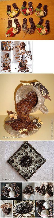 Поделки из кофейных зерен   Самоцветик