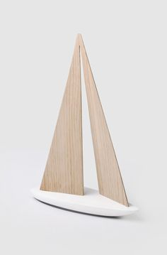 "THE WOOD COLLECTOR | Wooden Toy Sailing Boat | Part of the ""WOO"" collection of minimalist grown-up toys, crafted by Czech designer and architect Vrtíška Žák 