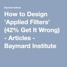 #7How to Design 'Applied Filters' (42% Get It Wrong) - Articles - Baymard Institute - You might say a good designed webpage does not need the option to filter and sort, because it will allow the user to find the information in a natural way. But search engines and filters have become natural to most of us. But proper design of filters has not, not yet at least!