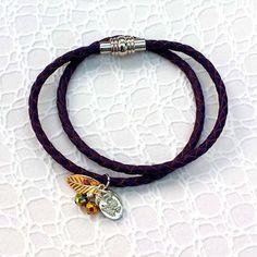 Leather Wrap Bracelet - Purple