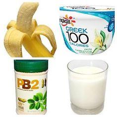 4 Ingredients! 1 container Yoplait Greek 100 Yogurt (Flavor of choosing - I chose vanilla) 1 FROZEN banana 2 TBSP PB2 (in powder form) 1 cup Skim Milk STEP 1: Place banana on counter to unthawl about 30...