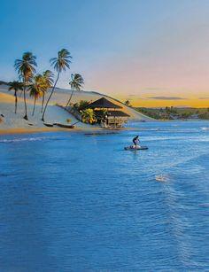 A Praia de Genipabu, no Rio Grande do Norte Rio Grande Do Norte, Learn Brazilian Portuguese, Brazil Travel, Beautiful Places To Travel, Hawaii Travel, Travel Guides, The Good Place, Places To Go, Explore