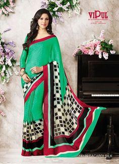 Green Printed Crepe Silk Saree With Printed Blouse. 14139