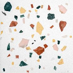 """White terrazzo tile with multicoloured marble chips in a random """"confetti"""" design from Mosaic Factory's terrazzo collection MARBLE WILD Kitchen Flooring, Kitchen Backsplash, Kitchen Furniture, Terrazzo Flooring, Bohemian Decor, Bunt, Abstract, Wallpaper, House Styles"""