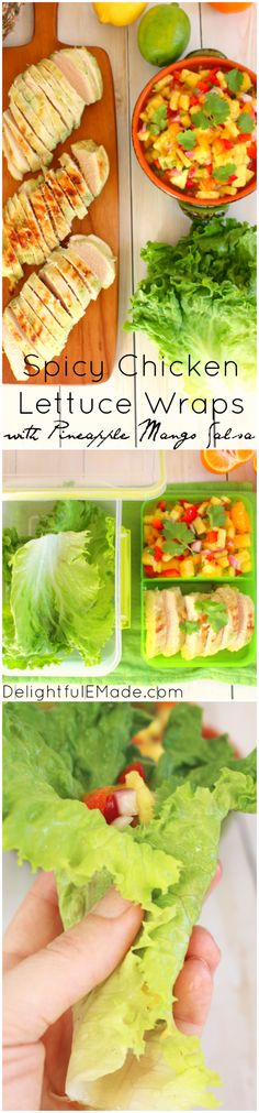 Do you pack your lunch for work? Bring these amazingly healthy, delicious Spicy Chicken Lettuce Wraps! The flavorful Pineapple Mango Salsa along with the spicy verde chicken make for a tasty, healthy, and filling meal! Low carb, gluten free and only 5 Wei Healthy Dinner Recipes, Whole Food Recipes, Cooking Recipes, Healthy Dishes, Skinny Recipes, Clean Recipes, Mango Salsa, Pineapple Salsa, Health Lunches For Work
