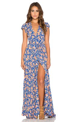 Tularosa Sid Wrap Dress in Navy & Peach Floral | REVOLVE
