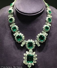 "Emerald is my birthstone ~ ""The legendary emerald suite was bought by Elizabeth Taylor and husband Richard Burton at jewellers Bulgari while filming Cleopatra in Italy"""