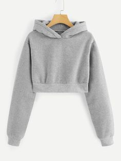 Shop Hooded Crop Sweatshirt at ROMWE, discover more fashion styles online. Teen Fashion Outfits, Girl Outfits, Casual Outfits, Girl Fashion, Preteen Fashion, Ladies Fashion, Womens Fashion, Cute Sweatshirts, Hooded Sweatshirts
