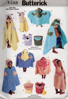 Butterick 3488 Boys and Girls Toddlers  Bath Accessories Pattern Hooded Towel and Wash Glove pattern dog frog duck and cat sewing pattern by mbchills