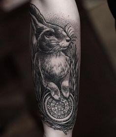 "WEBSTA @ danielbacz - cute rabbit with oreo / sun illustration from ""watership down"" book #edinburghtattoo #uktattoo #ukta #inkdependentattoo #blackwork #blacktattoing #blackt #iblackwork #linework #dotwork #illustration #tattoo #onlyblack #cheyennetattooequipment #3rl"