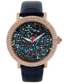 Betsey Johnson Women's Blue Patent Leather Strap Watch 43mm BJ00426-05 - Women's Watches - Jewelry & Watches - Macy's