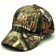 NCAA Louisiana State Fightin Tigers Men s Hunter Adjustable Cap (Mossy Oak  Camo b893c88a4