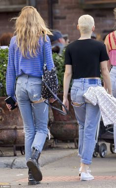 Kristen Stewart and Stella Maxwell out in matching jeans | Daily Mail Online