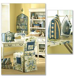 PATTERN:  This pattern for sewing room items includes patterns for a chair cover, sewing machine cover, 3 sizes of basket liners, a sewing tote, iron case, hanging organizer and ironing board cover.
