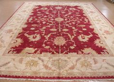 13 x 20 OUSHAK Hand Knotted Wool RED IVORY NEW LARGE Oriental Rug Carpet #Unbranded #TraditionalTurkishOriental