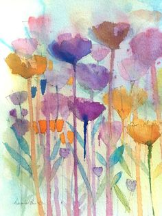 Original Watercolour Painting - Abstract Floral - Signed Annabel Burton