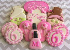 One Dozen (12) Spa Birthday Themed Decorated Sugar Cookies
