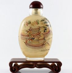 Glass snuff bottle, tiny interior painting, chinese culture featured, vintage by OrientalX on Etsy https://www.etsy.com/listing/210356306/glass-snuff-bottle-tiny-interior