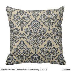 Stylish Blue and Cream Damask Pattern Pillows