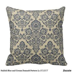 Stylish Blue and Cream Damask Pattern Pillows