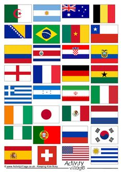 World Cup 2014 flags Yes.I am a fan of soccer and am secretly World Cup Crazy at the moment. Brazil World Cup, World Cup 2014, Fifa World Cup, Football Themes, Flag Football, Fun Activities For Kids, Crafts For Kids, Activity Village, Theme Sport