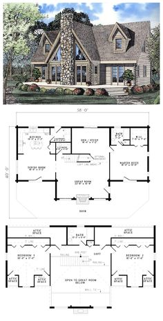 House Plan 61105 | Total living area: 2402 sq ft, 3 bedrooms & 2.5 bathrooms.