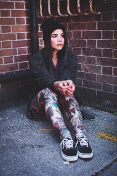 Old american tradition leg sleeve tattoos.