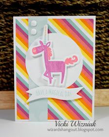 Adorable unicorn birthday card with CTMH Little Dreamer papers, and Little Dreamer Cardmaking stamp set with matching Thin Cuts dies. by Vicki Wizniuk
