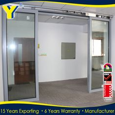 High quality heavy duty glass aluminum automatic sliding glass door