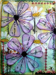 The Documented Life Project I love the way the written element is on the the transparent leaves allowing the background to show through. Mixed Media Journal, Mixed Media Canvas, Mixed Media Art, Creative Journal, Creative Art, Art Journal Pages, Art Journals, Art Journal Covers, Mix Media