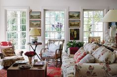 Long Island home of Ian and Emilie Irving in the New York Times T Magazine. The home is filled with chintz, antique ethnic textiles, and finds from their extensive travels. It is chic and bohemian, bringing to mind a cottage in the English countryside. Ian and his first wife, famed textile designer and tastemaker, Carolina Irving originally worked on the home together, and her influence continues to emanate from each room.