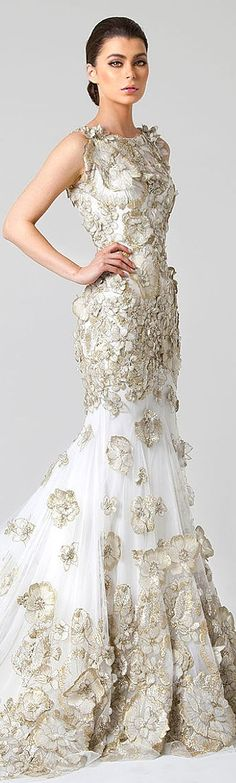 White and gold full-length gown! So beautiful!!! ~ Rani Zakhem