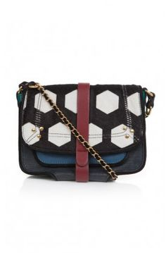 The multicolored crossbody Jojo Bag by Jerome Dreyfuss features a chain shoulder strap, patterned front flap, and leather accents. #jojo #jeromedreyfuss