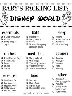 Baby packing list for Disney World! Excellent List! || Gracefulmommy.com Disney World Packing, Packing List For Disney, Disney Trips, Disneyland Trip, Disney Planning, Disney World Vacation, Disney Vacations, Disney Travel, Family Vacations