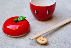 apple bowl with apple seed chopstick rest $25
