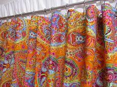 Boho Shower Curtain Paisley Shower Curtain Tangerine Orange