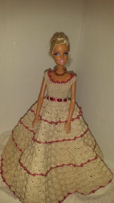 Handmade Barbie Gown, Crochet Barbie Dress, Fashion Cotton with Ribbon Accent Gown by GrandmasGalleria on Etsy