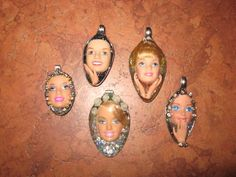 Image detail for -My Naptime Crafts: Resin Spoon Pendants Resin Jewelry, Jewelry Art, Jewelry Ideas, Resin Crafts, Resin Art, Barbie Doll Head, Barbie Barbie, Weird Jewelry, Creepy Dolls