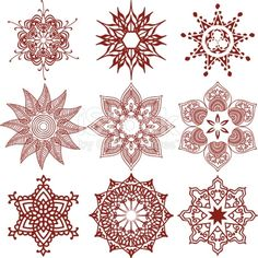 A collection of geometric snowflake designs inspired by the art of mehndi .