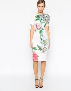 Image 1 of ASOS Premium Placed Crayon Floral Body-Conscious Dress