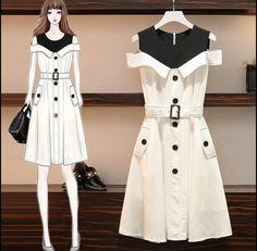 Fashion Drawing Dresses, Fashion Illustration Dresses, Korean Fashion Dress, Korean Fashion Casual, Korean Dress, Girls Fashion Clothes, Teen Fashion Outfits, Mode Outfits, Cute Fashion