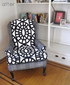 Gorgeous reupholstered chair made from something really ordinary. Inspiring.
