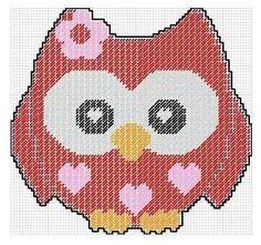 Valentine Owl 3 owls-hiboux-cross stitch-point de croix-embroidery