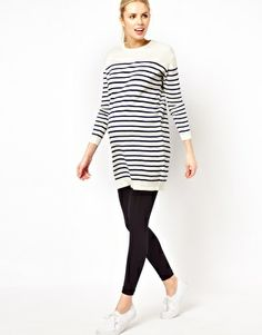 ASOS Maternity Knitted Dress In Sailor Stripe - not with those shoes…but i like the top